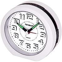 Reloj Despertador Analógico,Visualización de Números en 3D Operador a Batería Silencio Sin Tictac Reloj de Snooze y Funciones de Luz Reloj para Niños Reloj de Oficina en el Dormitorio en Casa(Blanco)