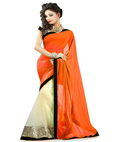 Winza Ethnic Wedding Half half net & Chiffon saree for women with embroidered work & blouse  available at amazon for Rs.644