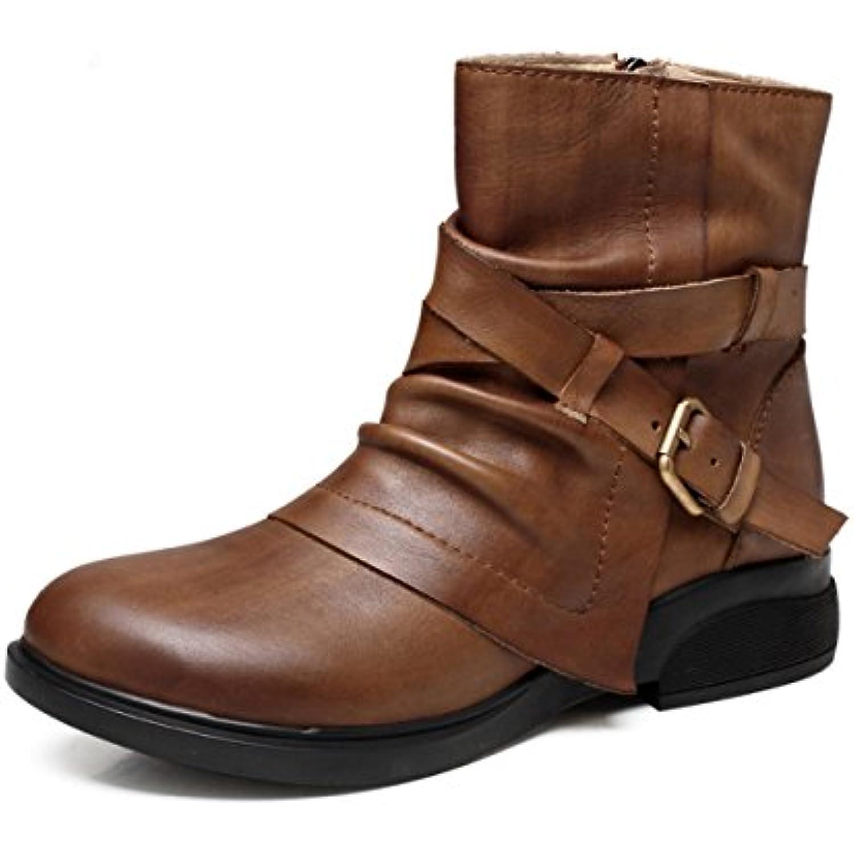 6a98ca4e6c178 Automne Hiver Hiver Hiver Femmes Femmes Pente Zipper Cheville Bottes  Chaussures Agrave  La Mode R eacute tro Loisirs Grande Taille 35-40 -  B076JDHGVH - ...