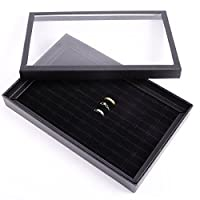 Large Black Velvet 100 Ring Jewellery Display Storage Box Tray Case Organiser Holder