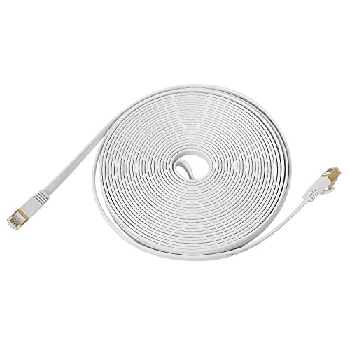 TOROTON Ethernet Cable, CAT7 15m RJ45 Cable de Red Internet 10GB 600MHz para Router, Módem, Caja de TV, PC, Videoconsolas de Videojuegos, Cajas ADSL, Switch etc. Blanco