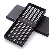 5 pares de palillos chinos de acero inoxidable reutilizables de metal 304 18/8 forma cuadrada hueca para juego de vajilla de sushi negro