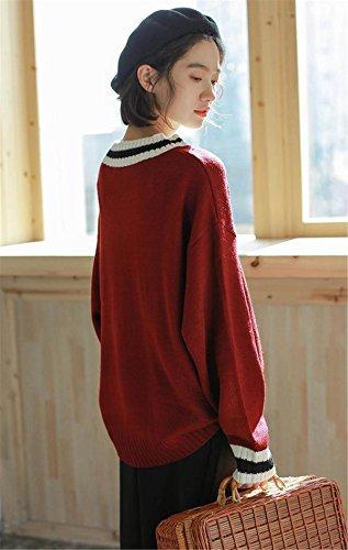 JOTHIN Classica Collo V Pullover Maniche pipistrello Sweater Giuntura larghi Maglioni College vintage Maglieria Donna vino rosso