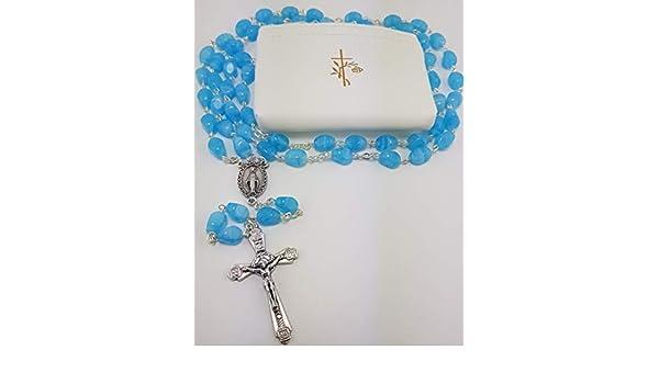 Christshop Kommunion Rosenkranz Sortiment Jungen mit Himmel blauen Glassteinperlen und Etui