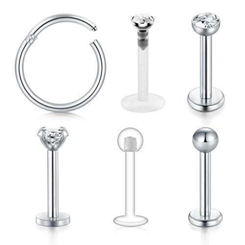 Briana Williams 6 pcs 16 Gauge Stainless Steel Lipsticks Labret Piercing Ring Tragus Helix Piercing Stud Ring 8mm