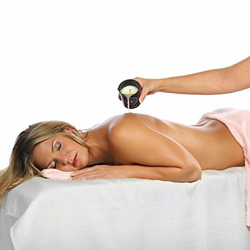 Deluxe Aroma Massagekerze Lavakuss, pflegendes Massagewachs in hochwertigem Glas, Massage Duftkerze aus natürlichen Soja & Kokosölen - 6