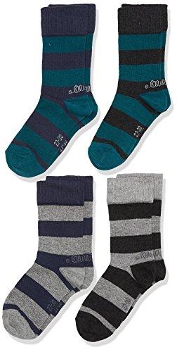 s.Oliver Socks Jungen Junior Fashion Socks 4p, 4er Pack, Grau (Light Grey Melange 10), 31-34 (T-shirt Light Vater)