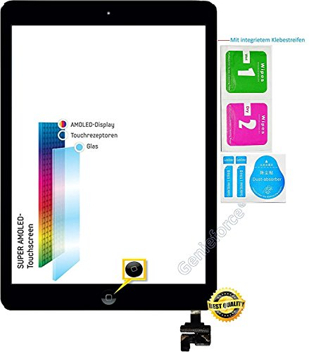 Retina Touch Screen Vetro Digitizer Nero per Apple iPad Mini 1/Mini 2 Generazione, con Original LVA Cavo Flex, Chip IC e Home Button – Incluso Set di 3 Set di Pulizia – Nero Black – Nuovo