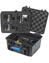 Supremery Sup600 Housse étanche pour GoPro Hero 4 Hero 3+ Hero 3, cas Hero 2 Bag Case [Floaty Sup600] Étui pour caméra GoPro Hero, le logement, LCD, batterie, carte SD et de nombreux accessoires (Taille: XXL) noir-bleu