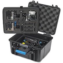 Funda impermeable para GoPro héroe 4 Hero Hero 3 3+ Supremery Sup600, caso del héroe 2 caso de la bolsa [Flotante Sup600] Estuche para cámara GoPro Hero, la vivienda, LCD, batería, tarjeta SD y muchos accesorios (Tamaño: XXL) negro-azul