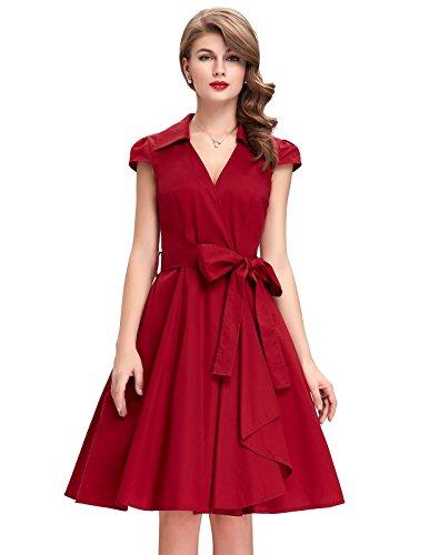 Vestido casual elegante-vestido verano vestido swing vestido rojo M CL6087-4