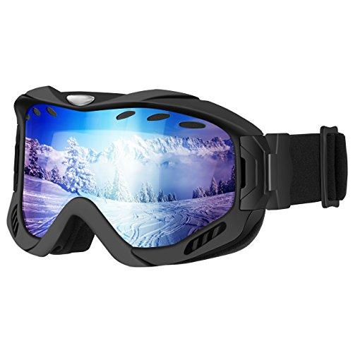 OMORC Maschera da Sci, Occhiali da Sci Snowboard Outdoor Protezione UV Lente Staccabile Cilindrico a Doppio Strato Sistema di Ventilazione Aggiornato per Sci Pattinaggio Motocross Paracadutismo, Blu