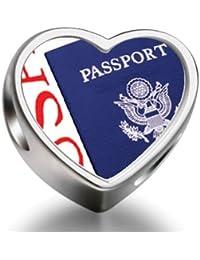 Bracelet Charm Bead Usa Passport Blue Heart Sterling Silver Charm Beads Biagi beads European Charms Bracelets