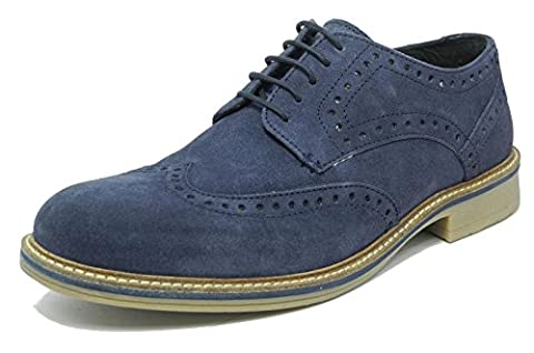 Mens Blue Suede Brogues Shoes Roamers Navy Lace Up Real Leather Size 8