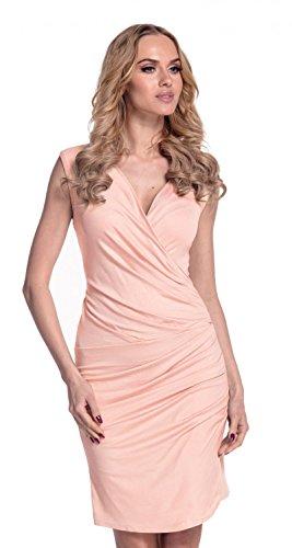 Glamour Empire Donna. Vestito aderente con piegoline. Fondo asimmetrico. 045 Albicocca
