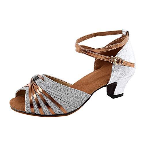 Tanzschuhe Damen Silber Dasongff Standard- & Latintanzschuhe High Heel Glitzer Salsa Tango Ballsaal Latin t-Strap Tanzschuhe Party Sandalen 3.5cm/5.5cm
