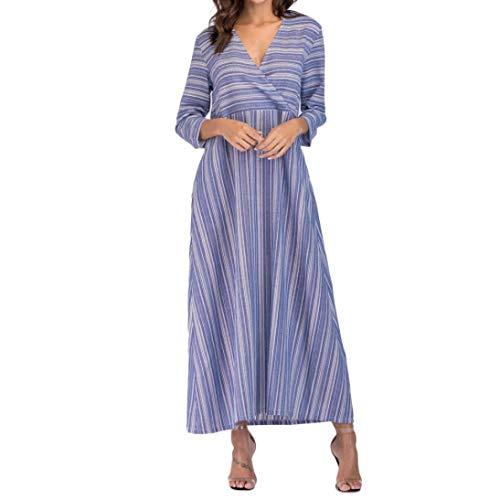 Gestreift Kleid MEIbax Damen Langarm Ärmel dünne Baumwolle Kleid beiläufige lose Lange Boho Taschen Kleid gestreift Kaftan Lange Kleid Strandkleider -