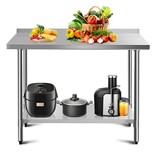 COSTWAY Arbeitstisch Edelstahl Küchentisch Gastro Tisch Edelstahltisch belastbar bis 250kg, Zubereitungstisch mit Zwischenbord (122 x 61 x 90 cm / 48x24)