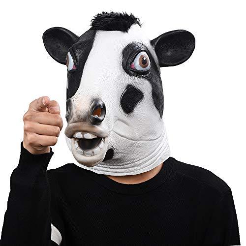 WSJDE Kuh-Kopf-Masken Halloween-Party maskt tierische lustige Show-Masken (Tierische Halloween-kostüme 2019)