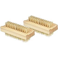 Cdet 2X Cepillo de limpieza natural de cerdas de madera de doble cara uñas limpiar cepillo aceite esencial masaje pequeño cepillo