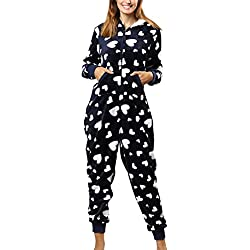 Zhhlinyuan Hiver Warm Combinaison Pyjama à Capuche Femme Onesies Jumpsuits Vêtement de Nuit - Impression Grenouillères Homewear Xmas
