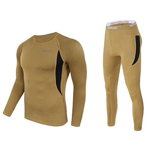 Polyester-thermo-unterwäsche (UNIQUEBELLA Herren Winter Suit Ski Thermo-Unterwäsche Set Thermowäsche langarm Unterhemd + Thermo lange Unterhose)