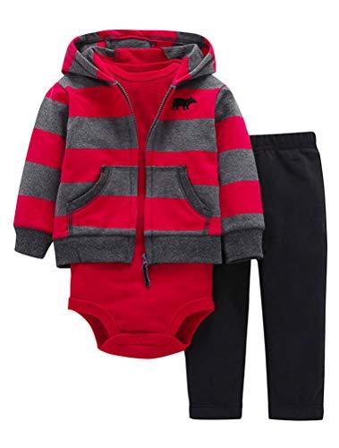 ARAUS Completini e Coordinati da Neonato Bambino Felpe con Cappuccio Manica Lunga e Body e Pantaloni 3 Pezzi 20 Modelli 0 18 Mesi