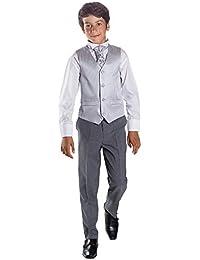Paisley of London, Chaleco Para Traje Para Niño, Página Chico Trajes, Patrón De Rayas, Pantalones Color Gris, 3-6 meses - 14 años