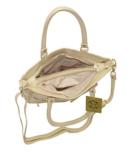 Damen Patchwork Handtasche Vintage Tasche mit zusätzlichem verlängerbaren Henkel Henkeltasche Shopper Schultertasche Umhängetasche Mehrfarbig DH0005 (Mehrfarbig) Creme