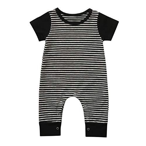 leidung, Strampelanzug, für Neugeborene, Babys, Kleinkinder, Jungen, Mädchen und Jungen, Sommer, kurzärmelig, gestreift ()