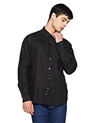 Indian Terrain Mens Solid Slim Fit Casual Shirt (CORE-ITSHC221-8907468549695_Black_2XL)