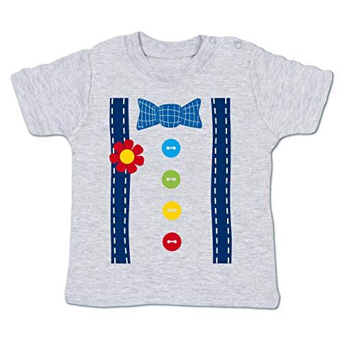 Karneval und Fasching Baby - Clown Kostüm blau - 18-24 Monate - Grau meliert - BZ02 - Baby T-Shirt ()