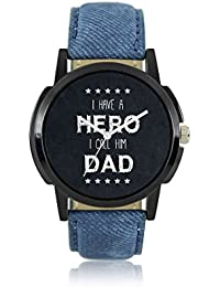 DealMen Round Blue Gens Leather Analog Father Day Watch For Men & Boys (HERODED,Multicolor)