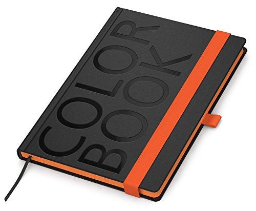Geiger-color-notes style carnet de notes format a5, 192 pages quadrillées à couverture rigide (noir) bords arrondis noir grain imprimante, orange, 1 porte-stylo fabriqué-orange en allemagne