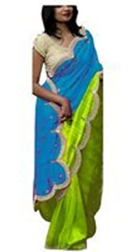 I-Brand Georgette Saree With Blouse Piece (Isunsa669_Blue_Free Size)