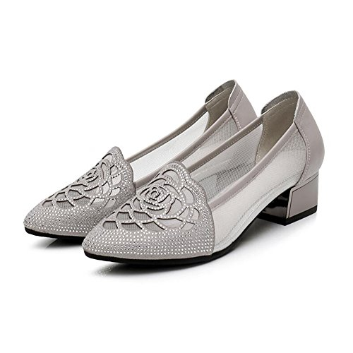 QIDI-sandalen QIDI Freizeitschuhe Frau Atmungsaktiv Gummi Low-Heels Spitze Lederschuhe (Farbe : T-1, Größe : EU39/UK6.5)