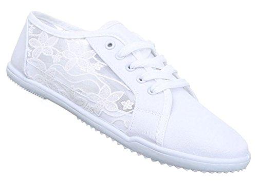 Damen Sneaker Schuhe Freizeitschuhe Low-top Halbschuhe Schnürer Weiß 38