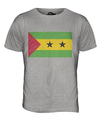 CandyMix São Tomé Und Príncipe Kritzelte Flagge Herren T Shirt Grau Meliert