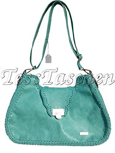 Damen Türkis Umhängetasche aus vegan Leder.Hobo-Tasche mit Magnetverschluss. Hellgrüne Sommer Handtasche.Exklusive Handarbeit. Unikat