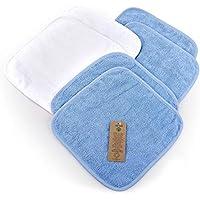 6 Toallas de Bebé, 4 Azul claro y 2 Blanco, 30x30 cm, tejido de rizo de algodón 100% orgánico, libre de sustancias nocivas/Toallas de baño/Toallitas cosméticas/Toalla multiusos