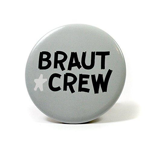 Preisvergleich Produktbild 6 Frau Wundervoll JGA Buttons hellgrau - Braut Crew, Ø 5,6 cm - Junggesellinnenabschied / Hen Party / Anstecker