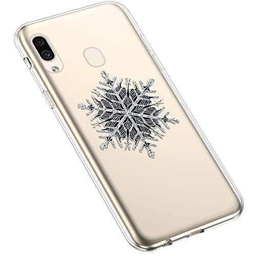 Uposao Kompatibel mit Samsung Galaxy A20 / A30 Silikonhülle Christmas Durchsichtig Weiche TPU Handytasche Transparent Ultra Dünn Klar Crystal Clear Bumper Backcover,Schneeflocken Baum