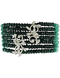 Aastha Jain Green Beads Sterling Silver Bracelet For Women