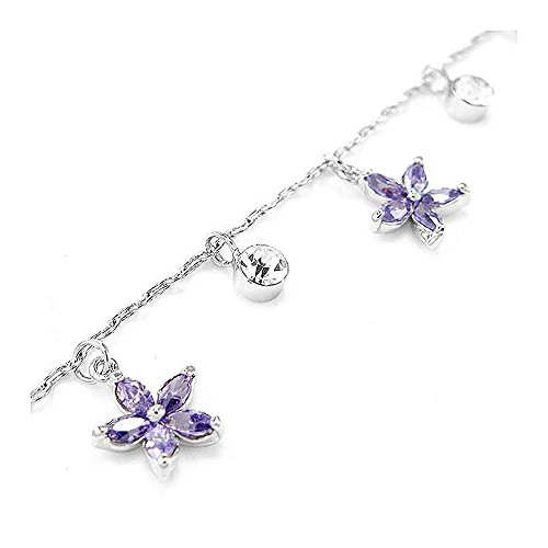 Glamorousky Elegant Flower Anklet with Silver and Purple Austrian Element Crystals (3548)