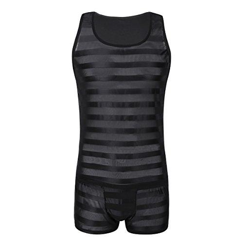 iiniim Herren Tank Top Ärmellos Muskel Shirt Streifen Unterhemd mit Boxershorts Dessous Unterwäsche Set M-XL Schwarz XL (Mesh-tank)