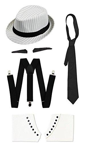 ILOVEFANCYDRESS Gangster Kostüm der 1920er Reihe -Zubehör Set Deluxe- Schwarze Hosenträger + Schwarze Krawatte + Schwarzer Spiv/Schnurrbart + Gamaschen + Weißer Nadelstreifen-Fedora-Hut - Nadelstreifen Fedora