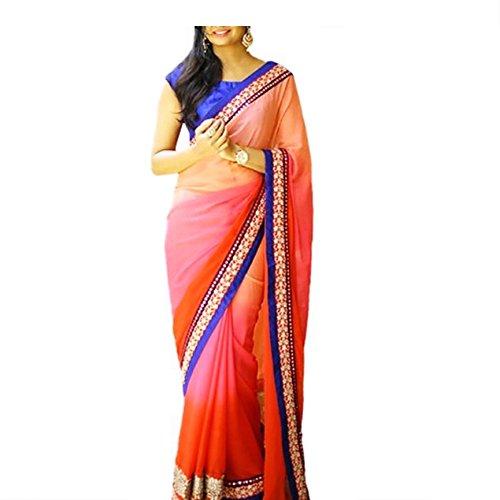 Zareen Fashion Women's GEORGETTE Multi-Colour Saree ( ZNX003 )