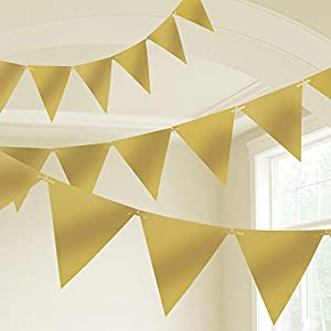 Amscan International- Cinta decorativa, Color 10m plastic pennant banner - gold (9903793)