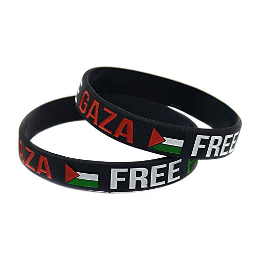 Silikonarmband Free Palestine Flag Logo Silikonarmband Kreatives Geschenkset Mit 2 Teilen,Black -