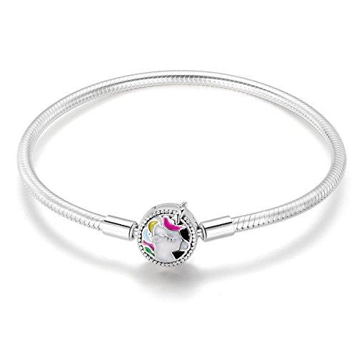 FOREVER QUEEN Charm Armband, 925 Sterling Silber Armband mit bunten Einhorn Charm Spange, Schlangenkette Armband für Frauen Mädchen Teen BJ09081 (18cm Snake Bracelet)